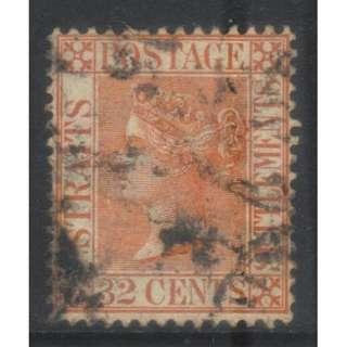 STRAITS SETTLEMENTS QV 32c 1883-1891 CROWN CA SG70 USED BL608