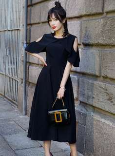 Maxi: Black Quality Off Shoulder High Waist Long Dress (S / M / L / XL / 2XL) - OA/MKE032115