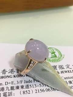 18k帶鑽紫玉戒指,內圏12mm,天然A玉