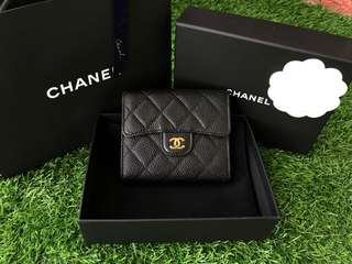 Authentic Chanel Trifold Short Wallet Black Caviar GHW