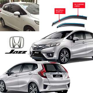 HONDA JAZZ/FIT 2014-2018 ACRYLIC DOOR VISOR WITH CHROME LINING