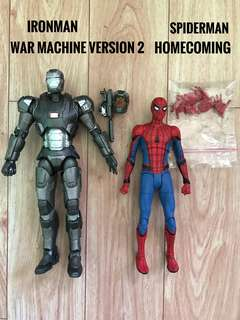 Marvel Select Ironman War Machine V2 and Homecoming Spiderman SET