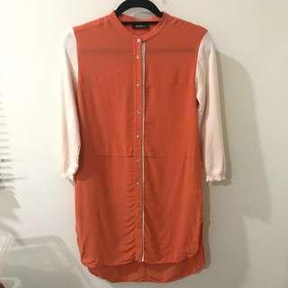 🚚 MAX&Co 異材質拼接/撞色/長版襯衫