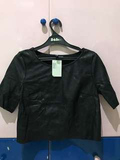 New h&m leather top