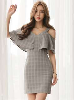 Casual: Spring Flouncing Off Shoulder Plaids Slim Dress (S / M / L / XL) - OA/MKE031316