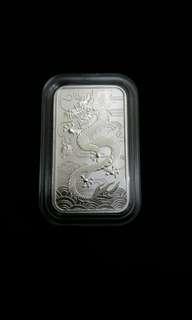 2018年澳洲龍銀條銀幣(連原廠保護盒)1安士純銀.999