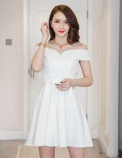 (S - XL) Party/Prom/Function/Event White Dress