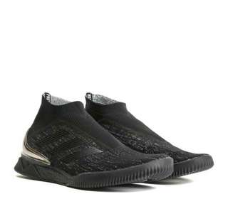 ADIDAS MEN'S BLACK PREDATOR TANGO 18+ TR - SNEAKERS - BLACK - KNITTED - SLIP-ON - LOGO STRIPES - BACK SILVER DETAIL - RUBBER SOLE - 100% FABRIC - MADE IN INDONESIA - LIMITED COLLECTION