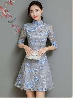 Cheongsam: Charming Floral Embroidered Organza A-Line Dress (S / M / L / XL) - OA/DZE031219