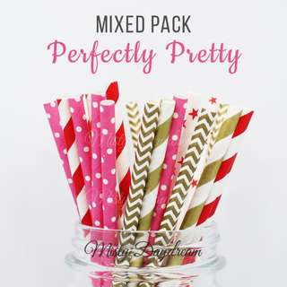 25pc PERFECTLY PRETTY Mixed Color Straws
