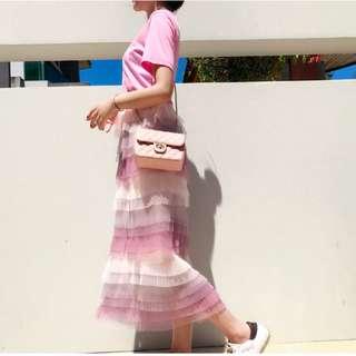 馬卡龍漸變色網紗裙蓬蓬裙蛋糕裙