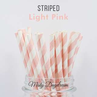 25pc LIGHT PINK Striped Straws