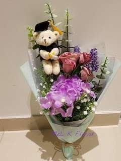 Hydrangea, Lavender, Eucalyptus, Baby breath with Graduation Bear (Artificial Flowers)
