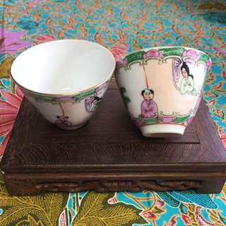 Canton Famille Rose Tea Cups