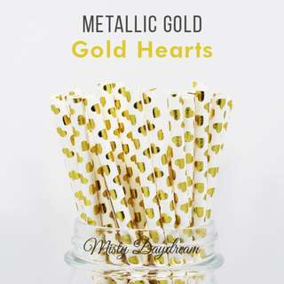 25pc HEARTS Gold Foiled Straws