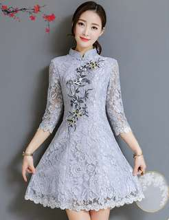 Cheongsam: Spring Floral Embroidered Mid-Sleeve Lace Cheongsam (S / M / L / XL) - OA/KKE030510
