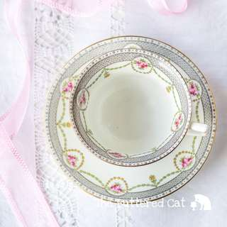 Antique English large teacup / breakfast cup and saucer, beautiful hand-decorated rose cameos, garlands and swags