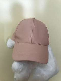 Pink leather cap