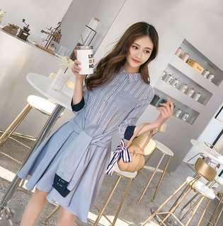 70986 #新款短款七分袖個性口袋條纹裙  颜色:條纹色  尺码:S M L XL