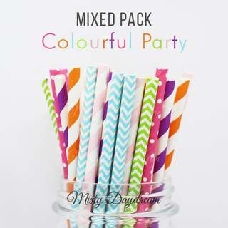 25pc COLOURFUL PARTY Mixed Color Straws