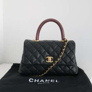 Chanel mini coco handle flap bag with lizard handle