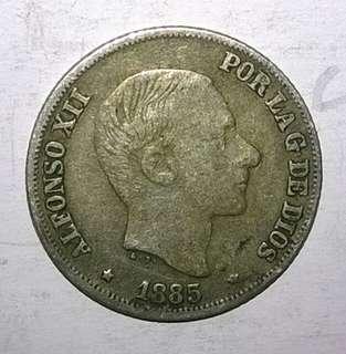 1885 Alfonso 10 centavos