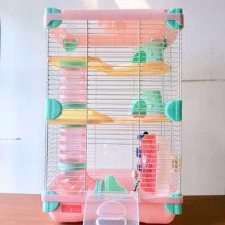 🚚 🐭鼠鼠三層豪宅 無聲滾輪/不鏽鋼嘴水瓶/食物盆