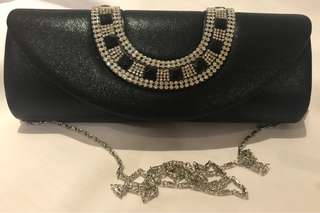 Dinner Handbag Clutch Black Rhinestone Women