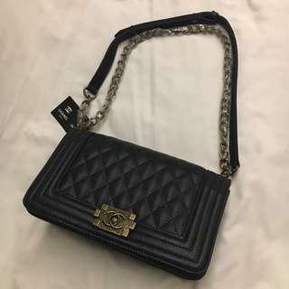 Chanel Le Boy Caviar Medium Bronze Hardware Black Bag Premium Copy