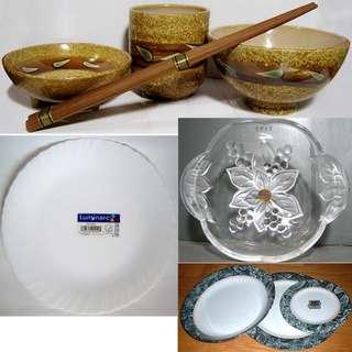 日式和風燒陶碗筷杯碟餐具組、Luminarc樂美雅強化餐盤瓷盤淺盤、SOGA水晶玻璃沙拉碗點心水果盤