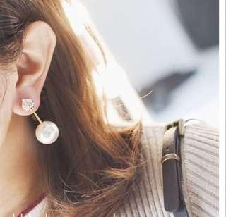 水晶大小珍珠耳環