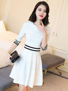 Casual: White Spring O-Neck Stripes Color Block Dress (S / M / L / XL) - OA/FLE012617