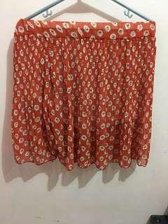 Orange floral Skater Skirt