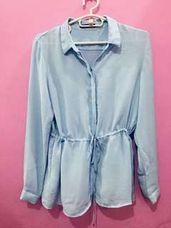 Mango Long Blouse in Light Blue