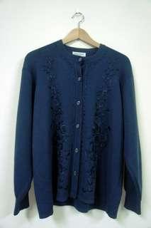 古著針織立體繡花海軍藍外套