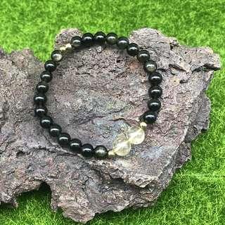 100% Genuine Gemstone Bracelet Obsidian Gold Rutilated Quartz Good Quality