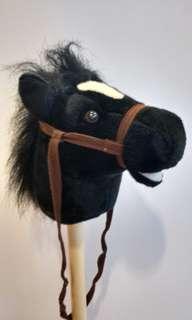 Plush stick horse black 93 cm