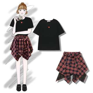 BN [ Black Top + Checkered Skirt ]