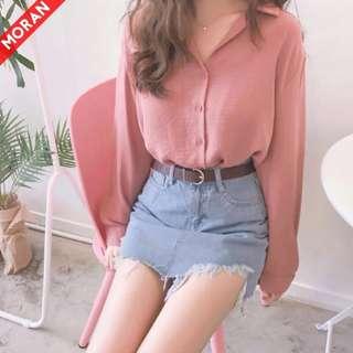 粉紅色雪紡料襯衫