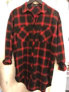 H:connect 經典黑紅格紋襯衫