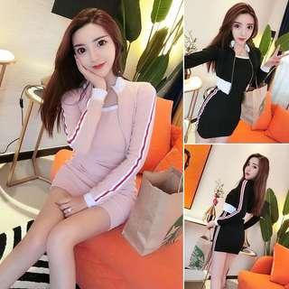 韓版運動休閒兩件式套裝吊帶連身裙包臀短裙短版棒球外套
