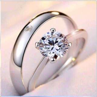 CZ Diamond Silver Wedding Engagement Gift Proposal Love Promise Rings