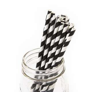 25pc BLACK Striped Straws