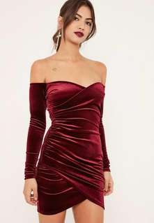 Missguided off the shoulder velvet dress