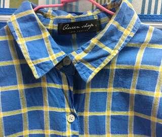 QueenShop購入 藍格襯衫