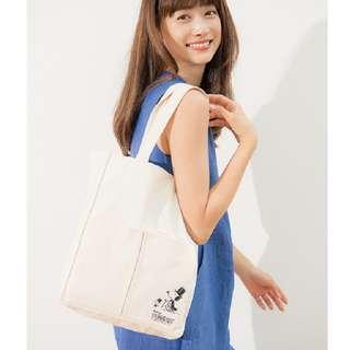 日本雜誌 BAILA 附贈 SNOOPY 米色 帆布托特包 單肩包 帆布袋 帆布包 手提袋 購物袋 史奴比 史努比