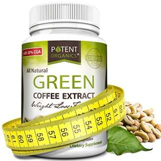 Potent Organics 100% Pure Green Coffee Bean Extract: Standardized To 50% Chlorogenic Acid – Green Coffee Beans – 800mg, 60 capsules (1 per serving) – Organic Green Bean Coffee Extract Product ID : 7561480