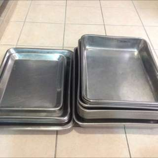 Used Stainless Steel Trays - Rounded Edge