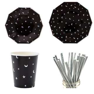 Black Star and Moon Party Serveware Package ( 8 X 7″ Small Plates, 8 X 9″ Large Plates, 8 X Cups, 25 X Silver Straws)