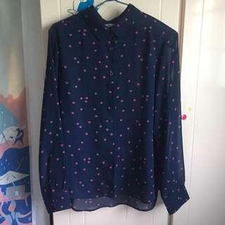 Uniqlo 深藍星星✨雪紡襯衫 會透
